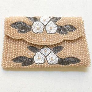 Vintage Pearl Beaded Floral Clutch